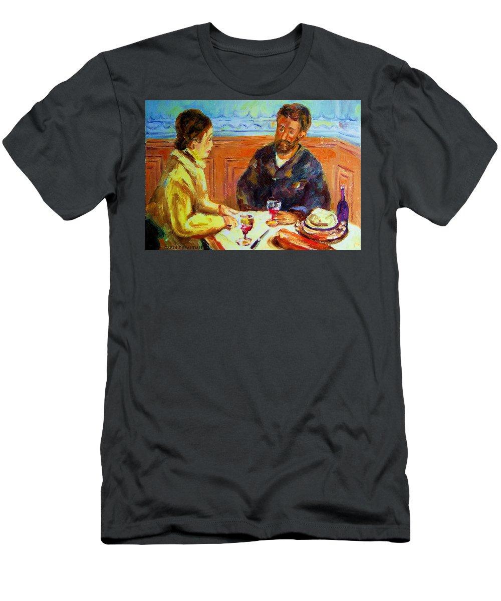 Cafe Scenes Men's T-Shirt (Athletic Fit) featuring the painting Cafe Homage De Pierre Auguste by Carole Spandau