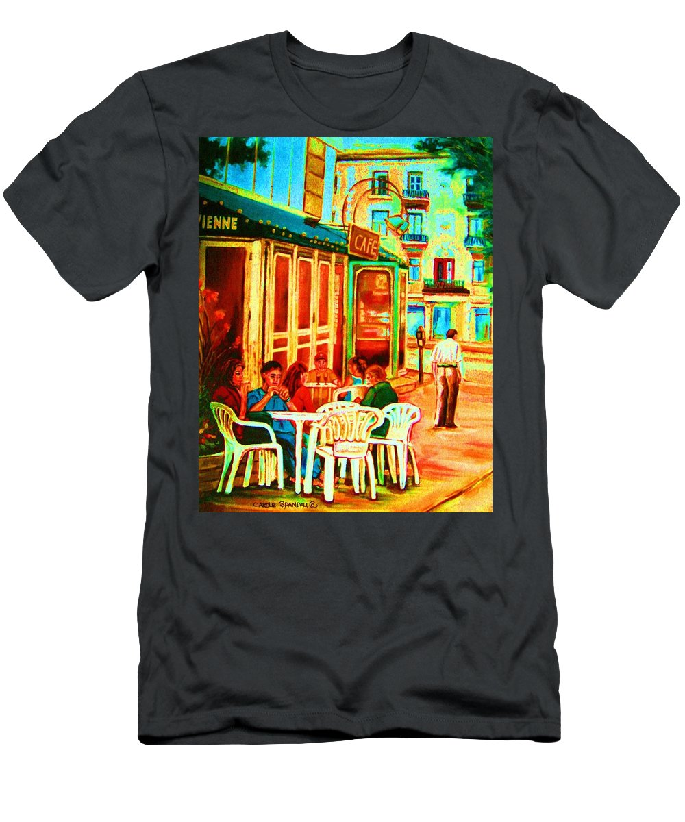 Cafes Men's T-Shirt (Athletic Fit) featuring the painting Cafe Vienne by Carole Spandau