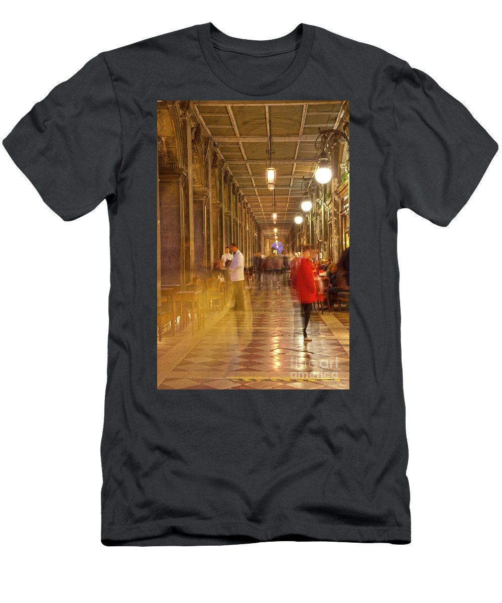 Venice Men's T-Shirt (Athletic Fit) featuring the photograph Caffe Florian Arcade by Heiko Koehrer-Wagner