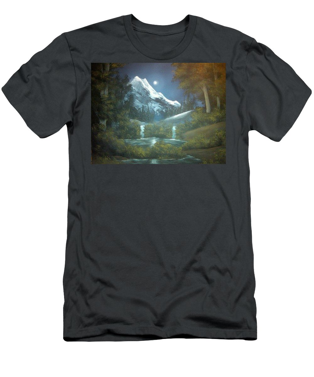 Moonlight Men's T-Shirt (Athletic Fit) featuring the painting Calming Night by Glen Mcclements