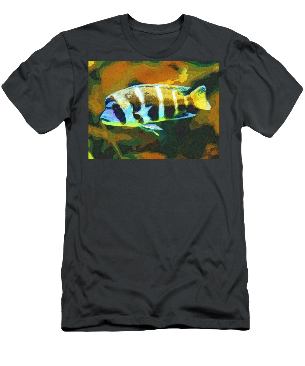 Fish Men's T-Shirt (Athletic Fit) featuring the painting Calvin by Dominic Piperata