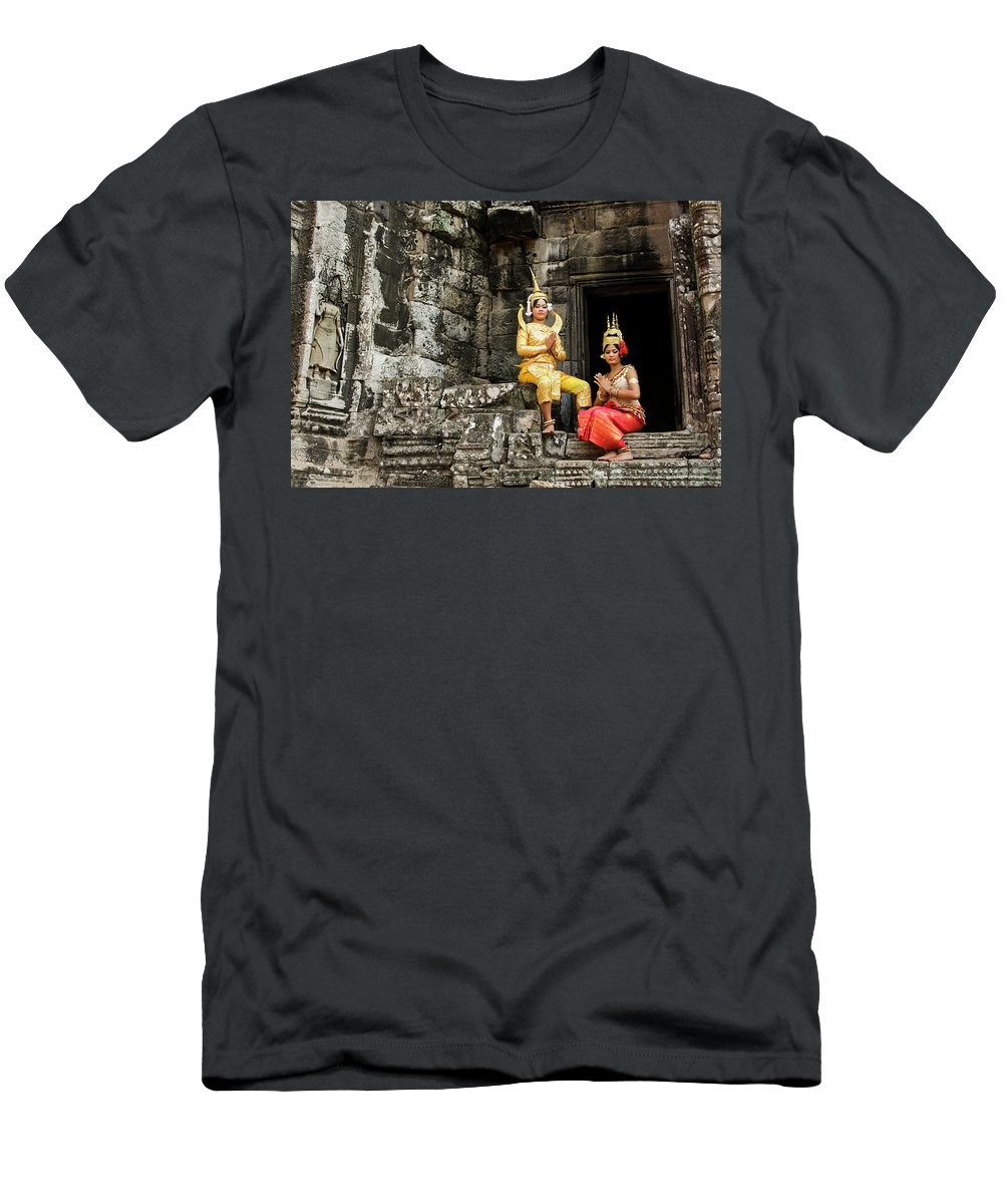 Asia Men's T-Shirt (Athletic Fit) featuring the photograph Cambodian Dancers At Angkor Thom by Michele Burgess