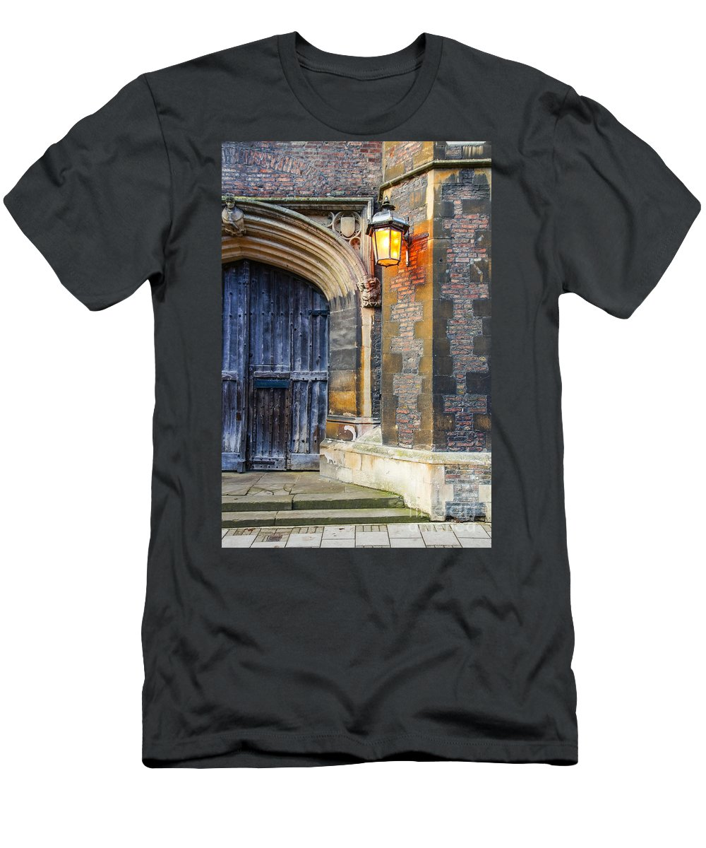 Cambridgeshire Tourism Attraction Destination Sightseeing Students Colleges Britain British England English Uk Europe European Background Streets Street Architecture Buildings Historic Entrance Facade Exterior Old Texture City Town Urban Medieval Gothic Culture Door Gate Spooky Creepy Stone Mystery Dark Fantasy Horror Haunted Scary Light Lights Wall Heritage Travel Campus Cambridge University Queens College Building Brick Men's T-Shirt (Athletic Fit) featuring the photograph Cambridge 1 by Marcin Rogozinski