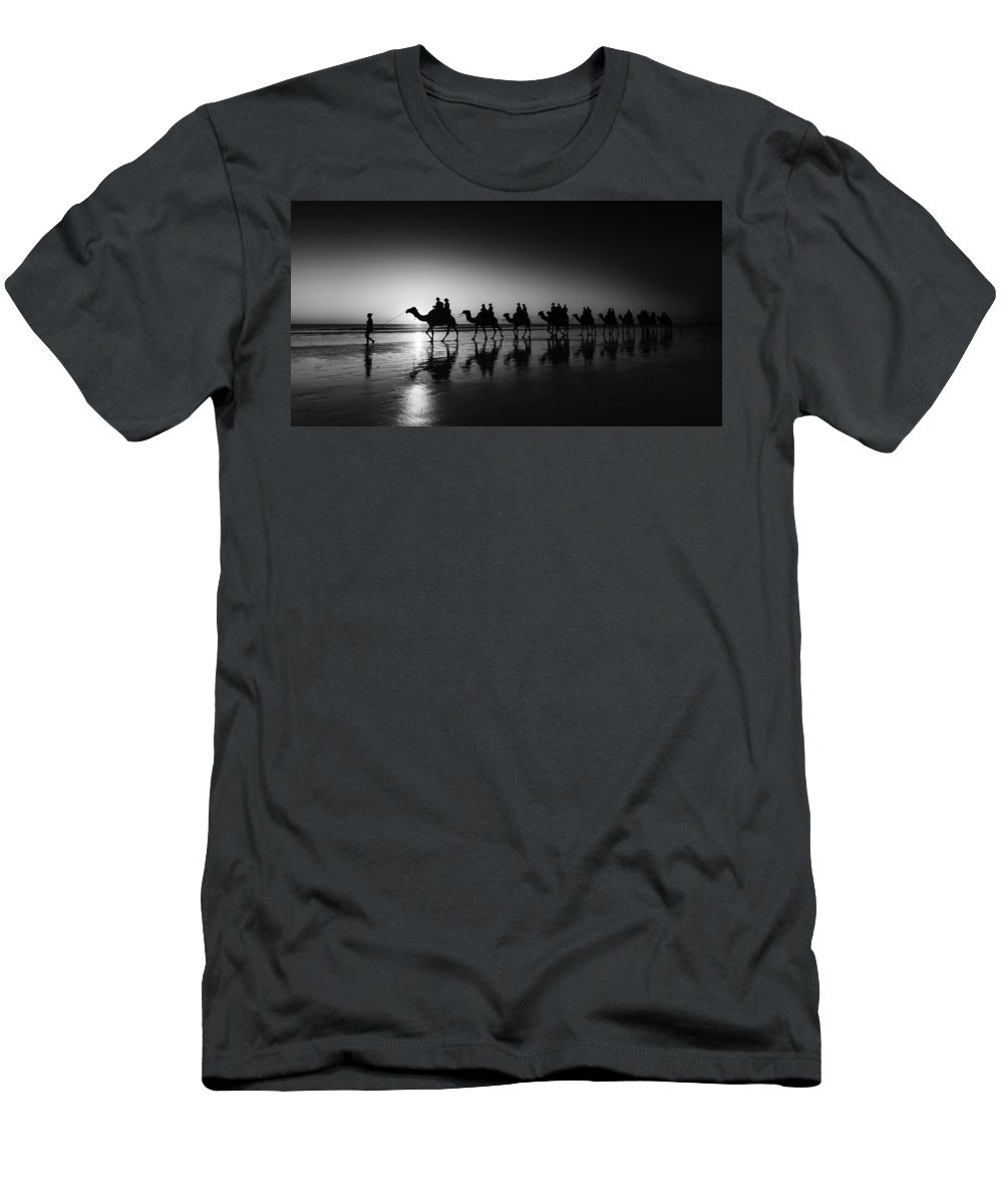 Broome Men's T-Shirt (Athletic Fit) featuring the photograph Camels On The Beach by Chris Cousins