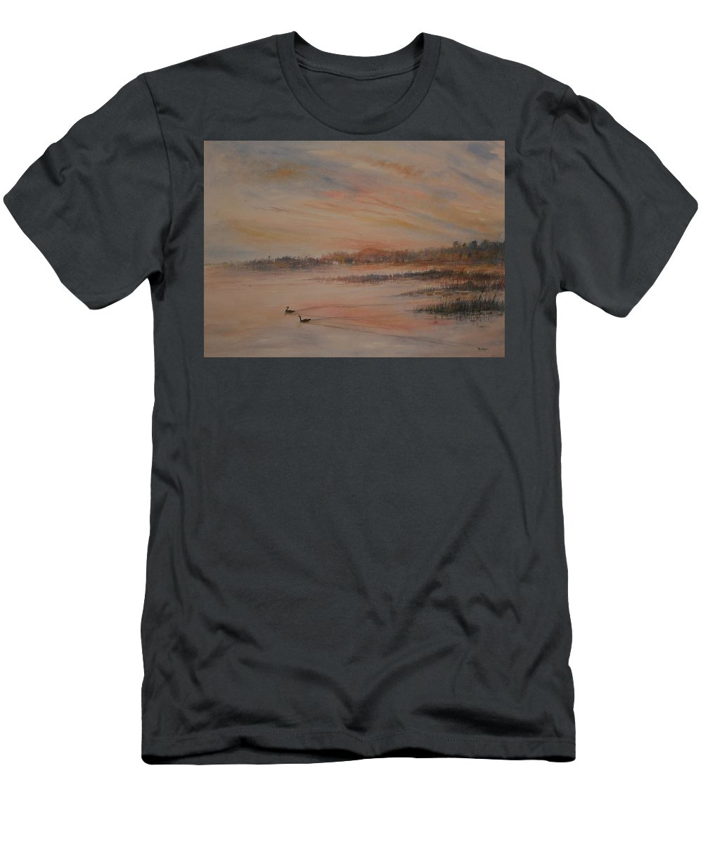 Landscape;geese;birds; Marshes; Sunset T-Shirt featuring the painting Canadian Geese at Sunset by Ben Kiger