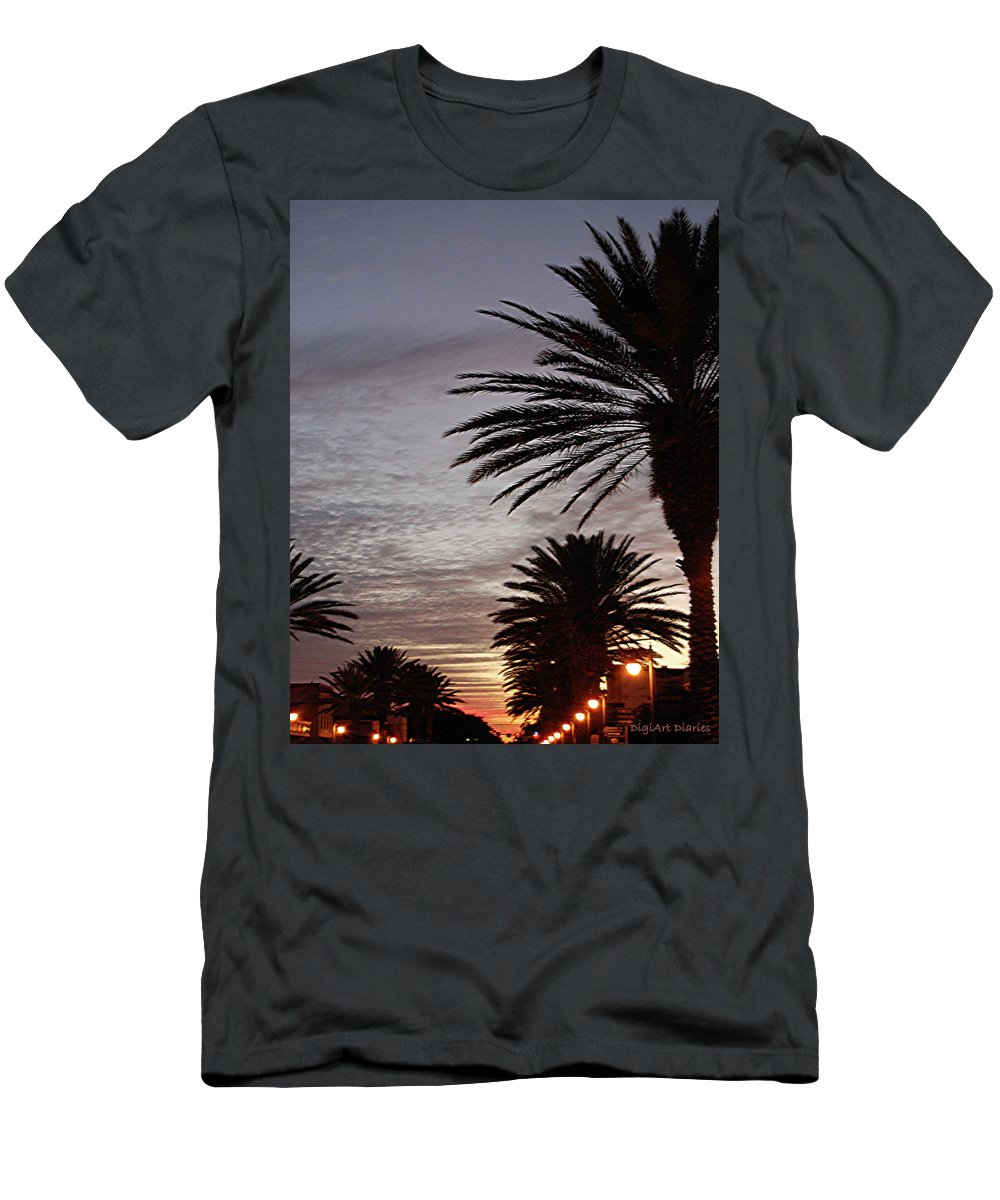 New Smyrna Beach Men's T-Shirt (Athletic Fit) featuring the photograph Canal Street At Dusk by DigiArt Diaries by Vicky B Fuller
