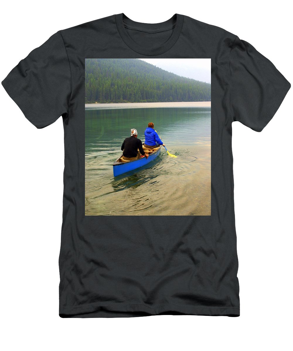 Glacier National Park Men's T-Shirt (Athletic Fit) featuring the photograph Canoeing Glacier Park by Marty Koch