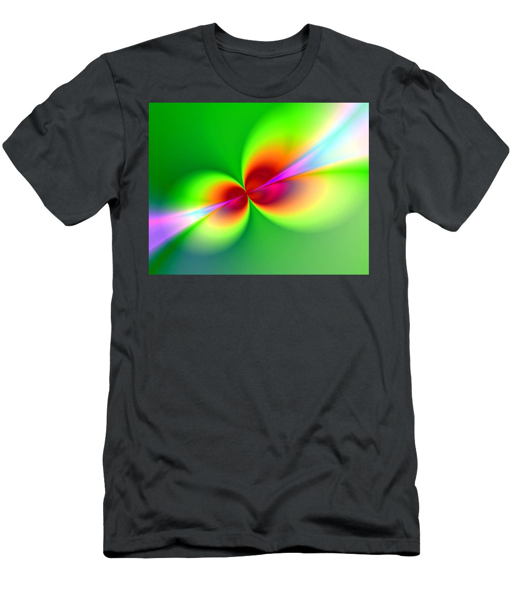 Abstract Men's T-Shirt (Athletic Fit) featuring the painting Canoodeling Neon Nodes Fractal by Elaine Plesser