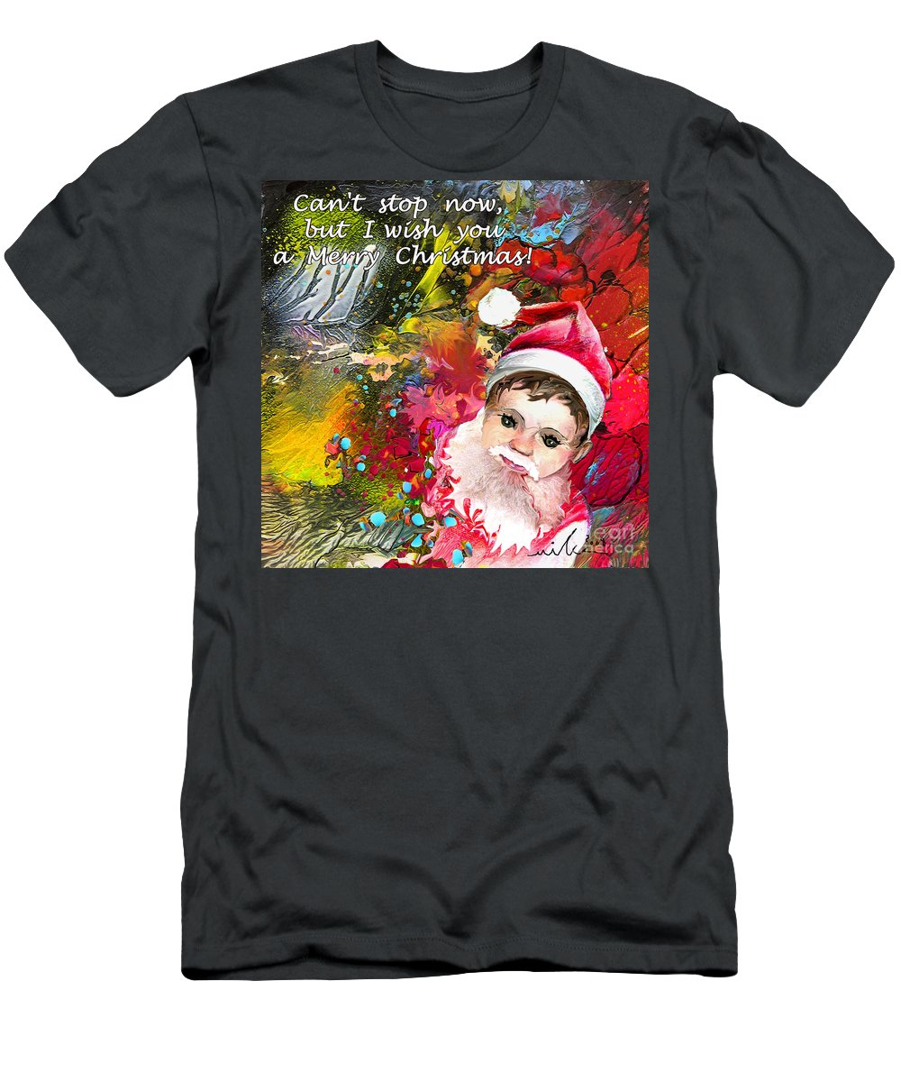 Santa Baby Painting Men's T-Shirt (Athletic Fit) featuring the painting Cant Stop Now by Miki De Goodaboom