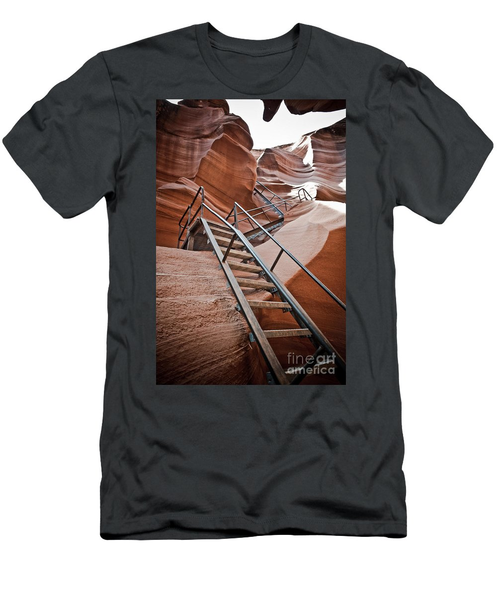 Slot Canyon Men's T-Shirt (Athletic Fit) featuring the photograph Canyon Exit by Scott Sawyer