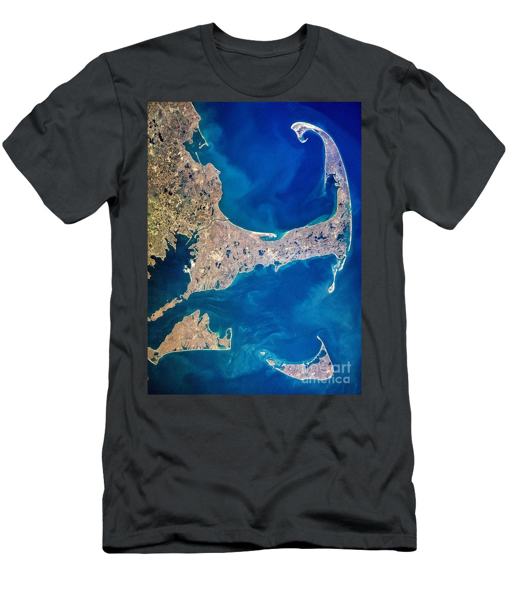 Aerial T-Shirt featuring the photograph Cape Cod And Islands Spring 1997 View From Satellite by Matt Suess