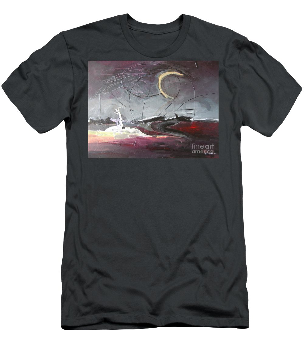 Abstract Paintings Men's T-Shirt (Athletic Fit) featuring the painting Cape St. Mary by Seon-Jeong Kim