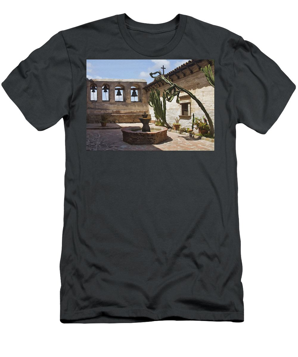 Mission Men's T-Shirt (Athletic Fit) featuring the digital art Capistrano Mission Courtyard by Sharon Foster