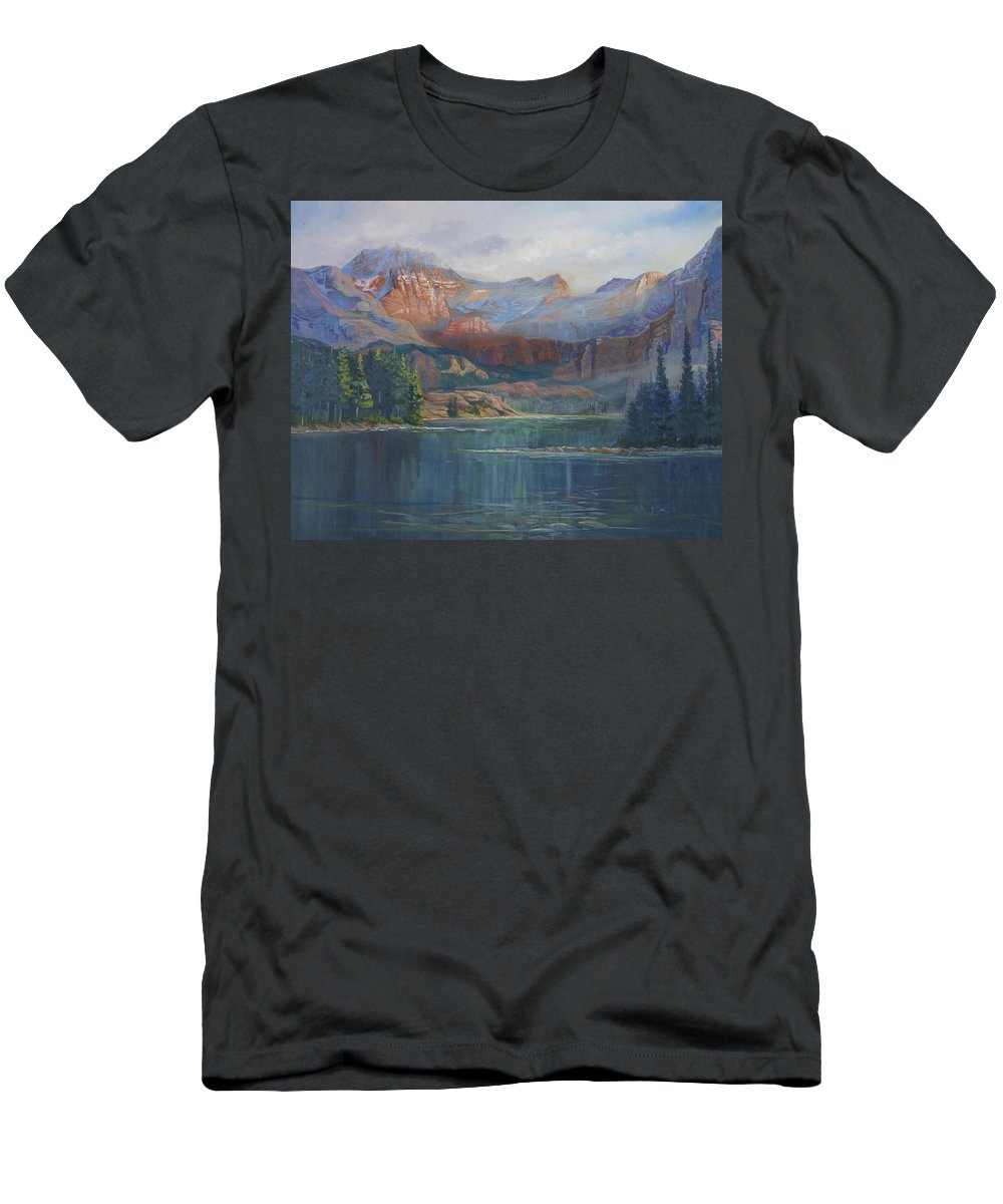 Capital Peak Men's T-Shirt (Athletic Fit) featuring the painting Capitol Peak Rocky Mountains by Heather Coen
