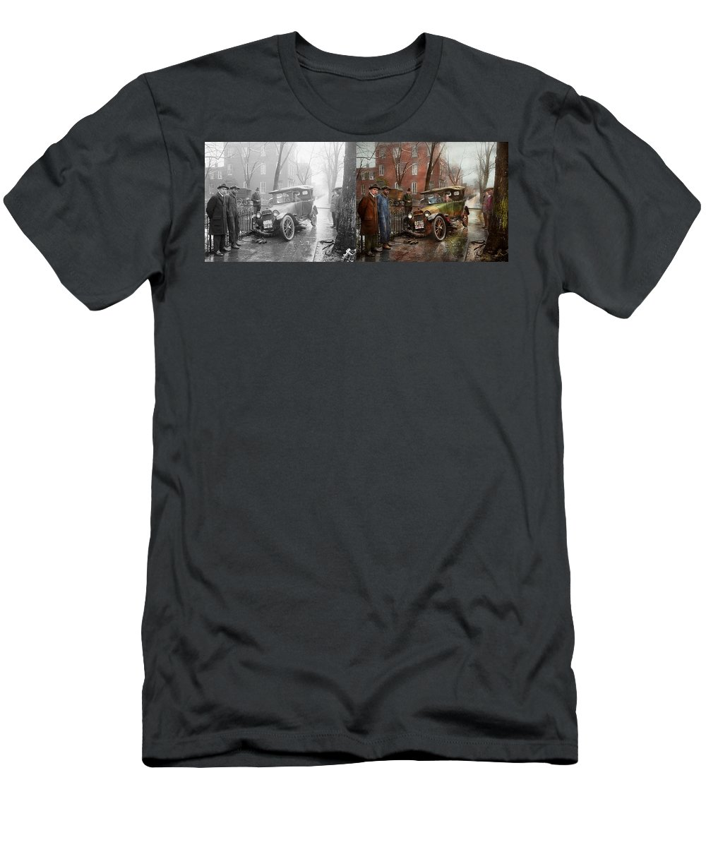 Colorized Men's T-Shirt (Athletic Fit) featuring the photograph Car Accident - Watch For Ice 1921 - Side By Side by Mike Savad