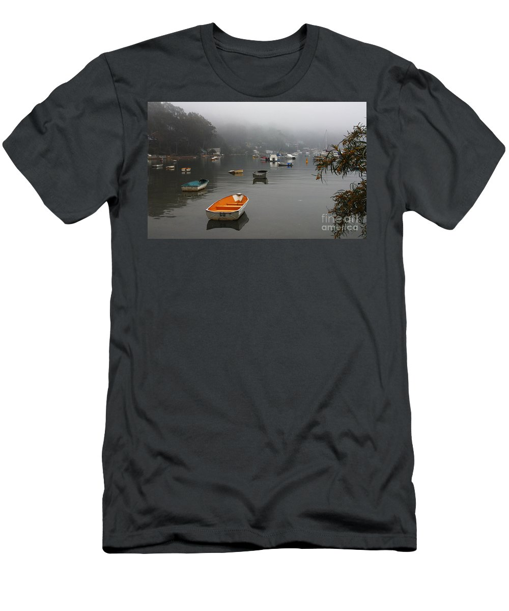 Mist Men's T-Shirt (Athletic Fit) featuring the photograph Careel Bay Mist by Sheila Smart Fine Art Photography