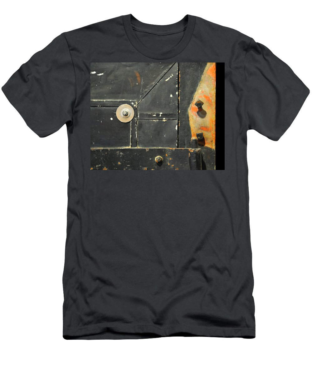 Firedoor Men's T-Shirt (Athletic Fit) featuring the photograph Carlton 10 - Firedoor Detail by Tim Nyberg