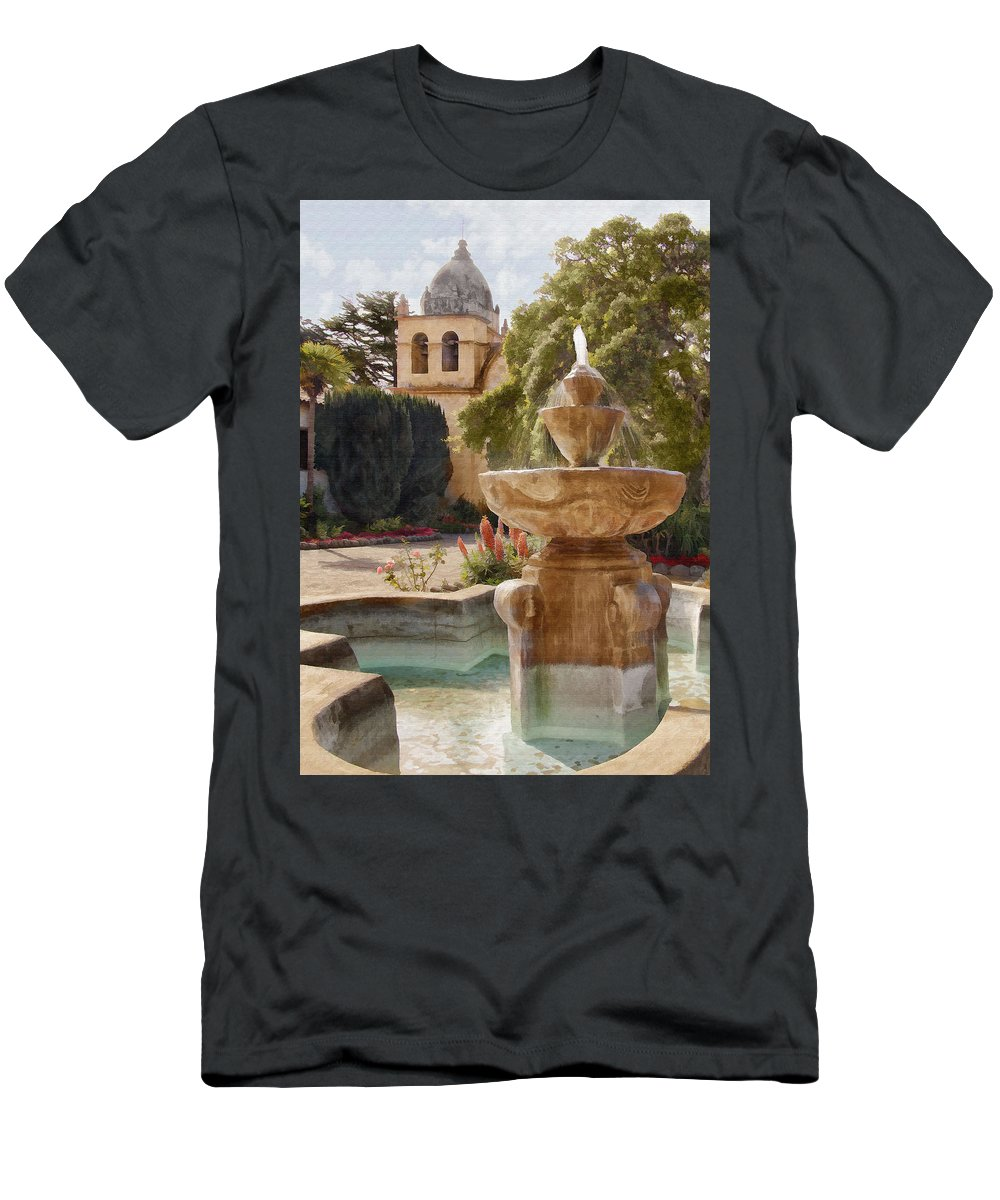 Mission Men's T-Shirt (Athletic Fit) featuring the digital art Carmel Fountain Courtyard by Sharon Foster