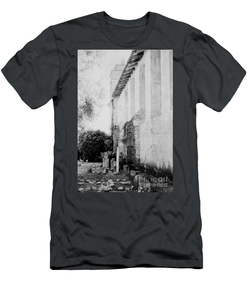 Carmel Men's T-Shirt (Athletic Fit) featuring the photograph Carmel Mission Cemetery by Paul W Faust - Impressions of Light