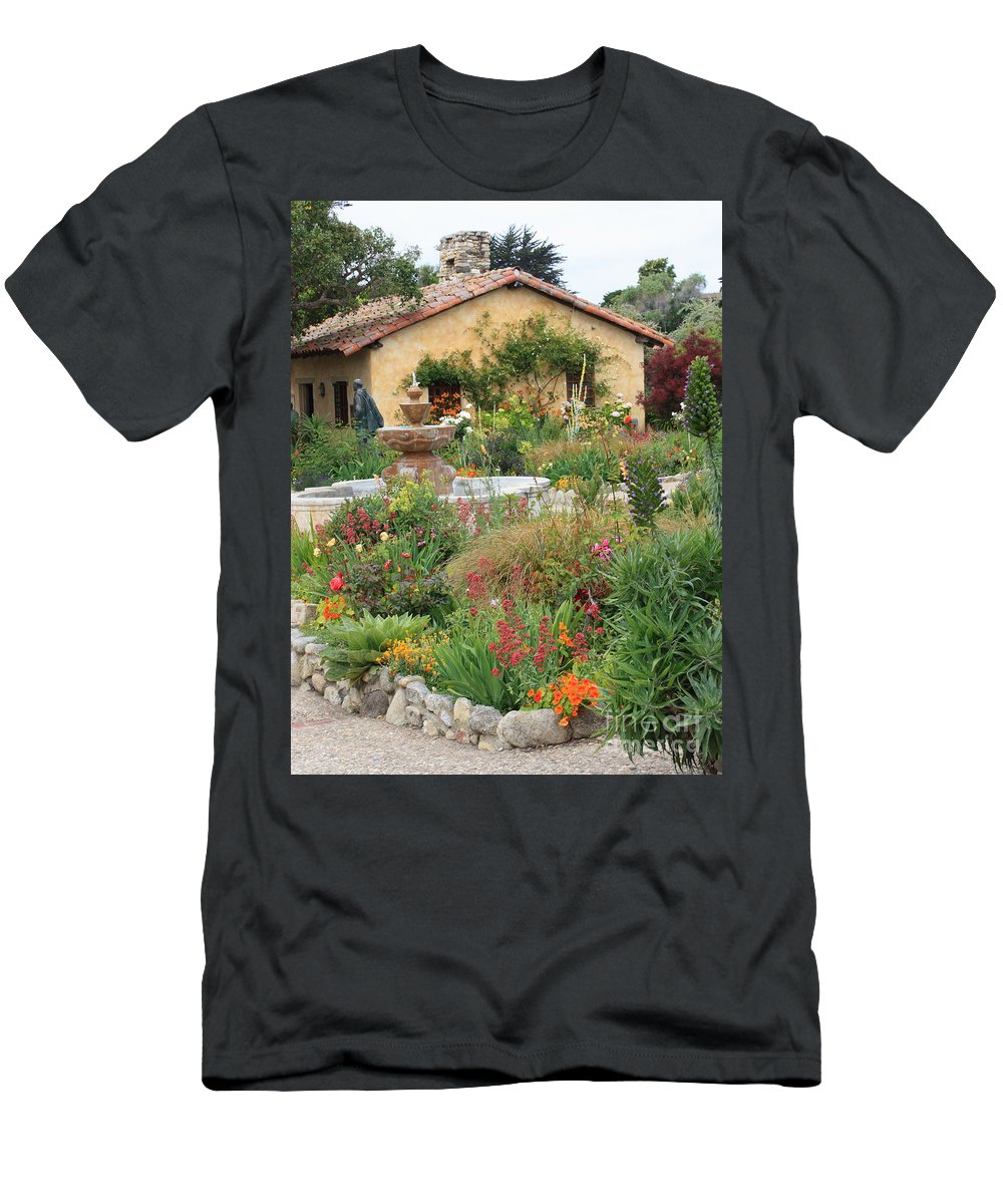 Carmel Mission Courtyard Men's T-Shirt (Athletic Fit) featuring the photograph Carmel Mission Courtyard Garden by Carol Groenen