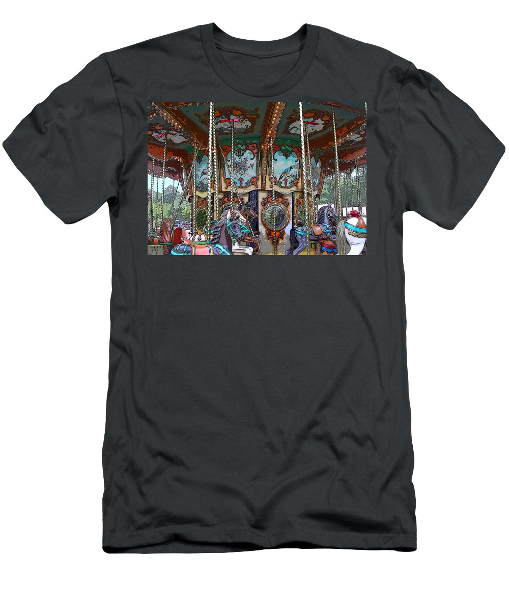 Carousel Men's T-Shirt (Athletic Fit) featuring the photograph Carousel 2 by Anne Cameron Cutri