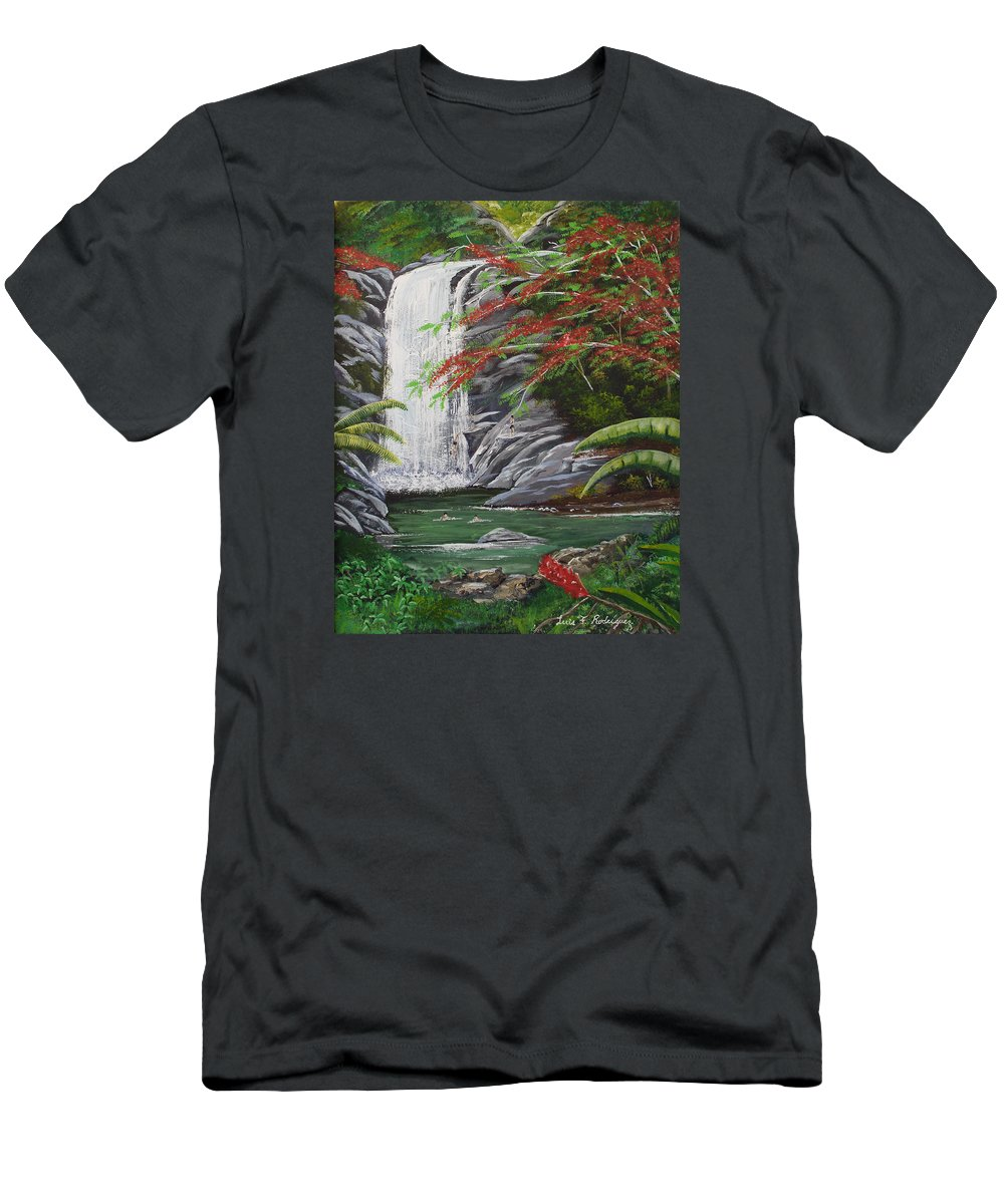 Cascada Men's T-Shirt (Athletic Fit) featuring the painting Cascada Tropical by Luis F Rodriguez