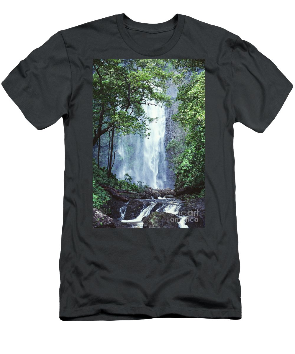 Ali O Neal Men's T-Shirt (Athletic Fit) featuring the photograph Cascading Waterfall by Ali ONeal - Printscapes