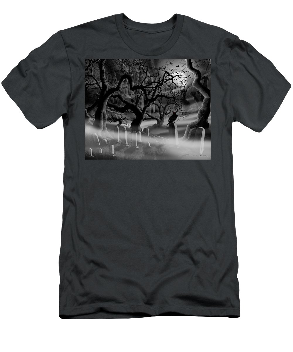 Castle T-Shirt featuring the painting Castle Graveyard I by James Christopher Hill