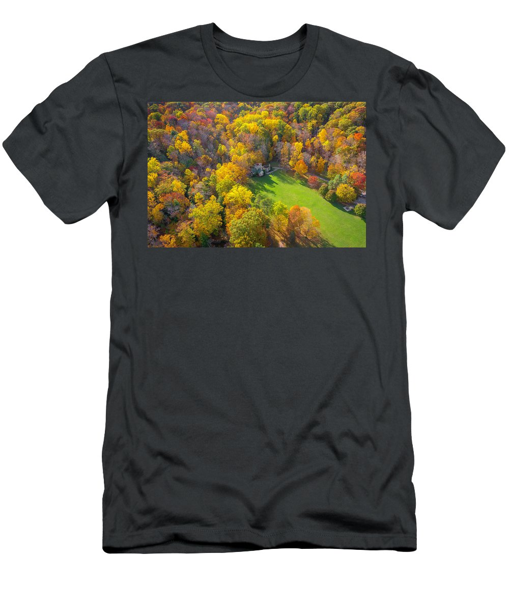 Castle Men's T-Shirt (Athletic Fit) featuring the photograph Castle In Fall by Andrew Cross