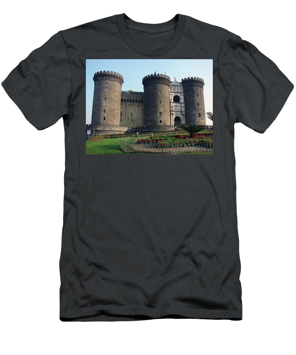 Castle Nuovo Men's T-Shirt (Athletic Fit) featuring the photograph Castle Nuovo Naples Italy by Brett Winn