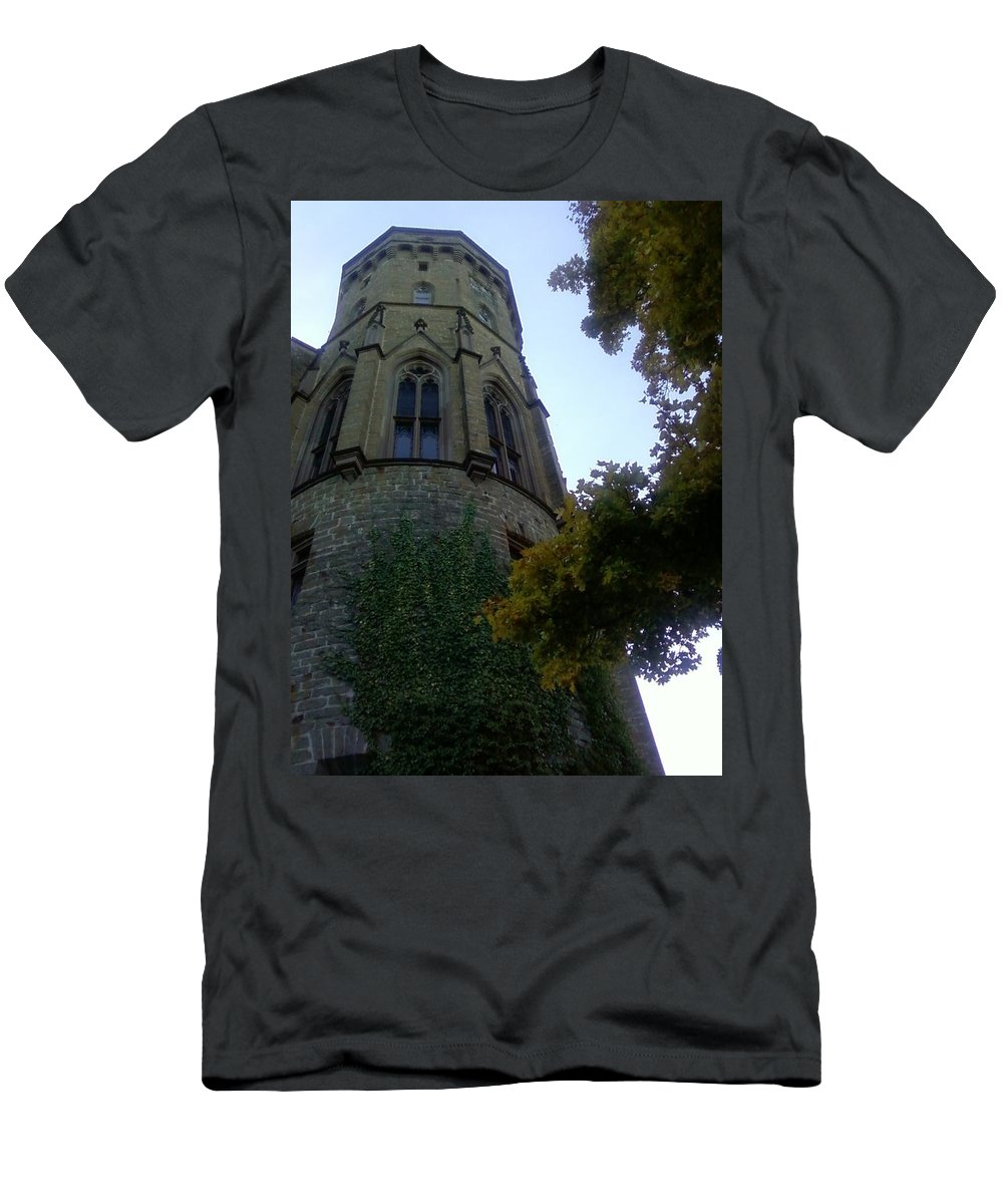 Castle Men's T-Shirt (Athletic Fit) featuring the photograph Castle Towers The Trees by David McGill