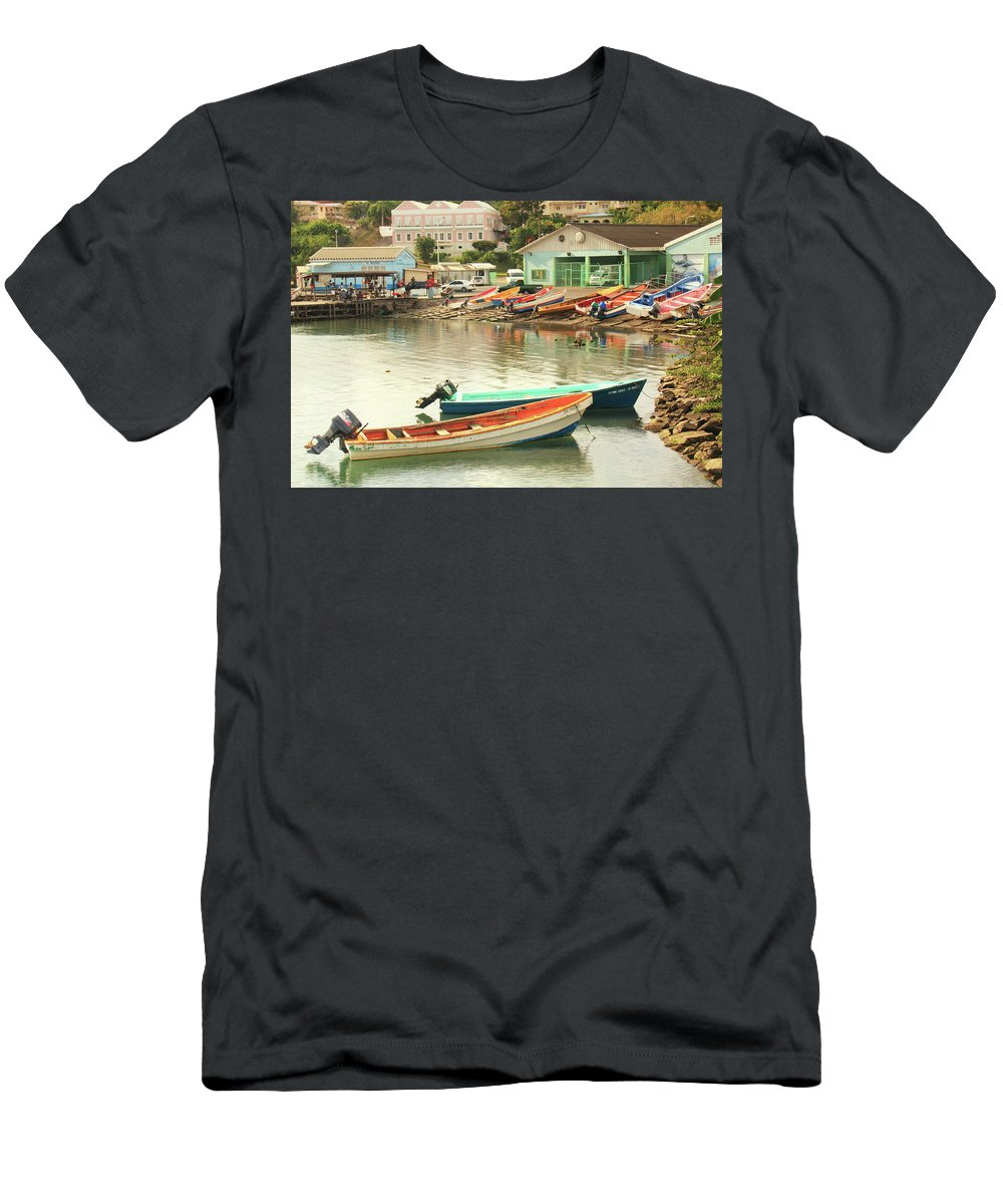Boats Men's T-Shirt (Athletic Fit) featuring the photograph Castries Harbor Waterfront by Roupen Baker
