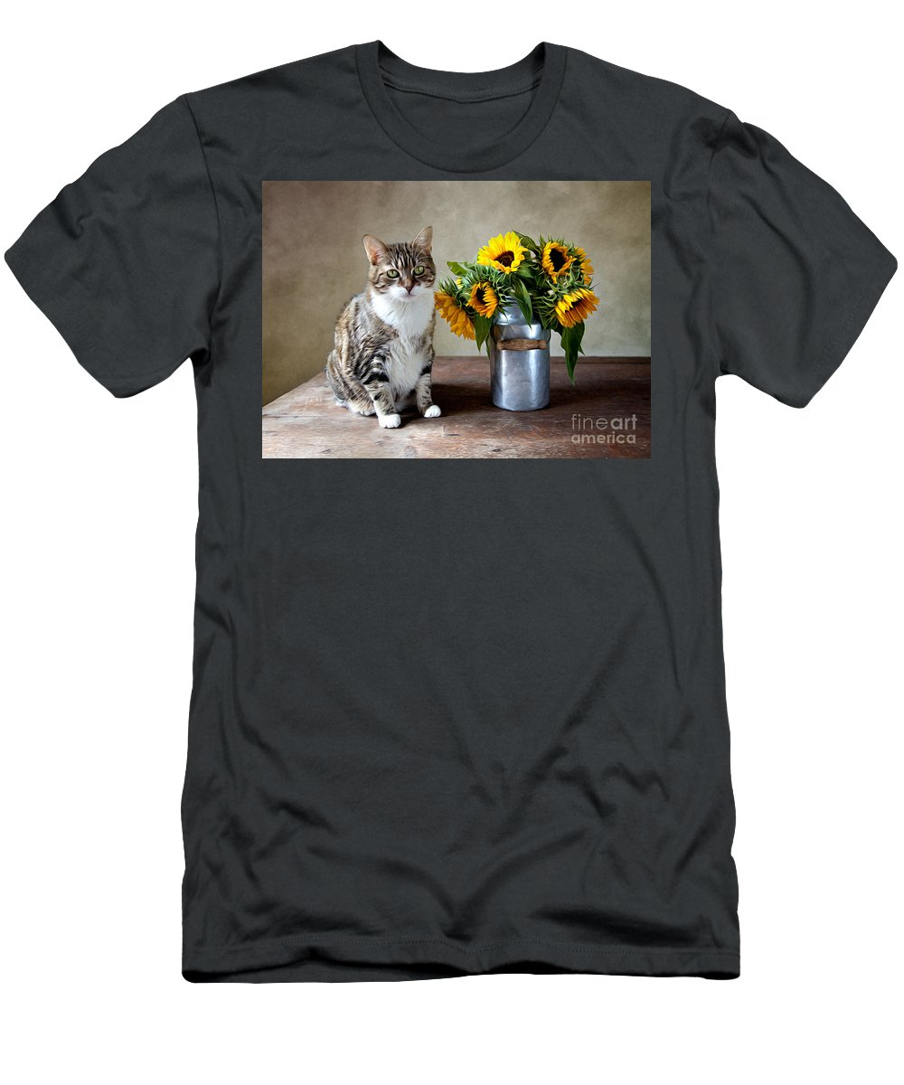 Cat T-Shirt featuring the painting Cat and Sunflowers by Nailia Schwarz