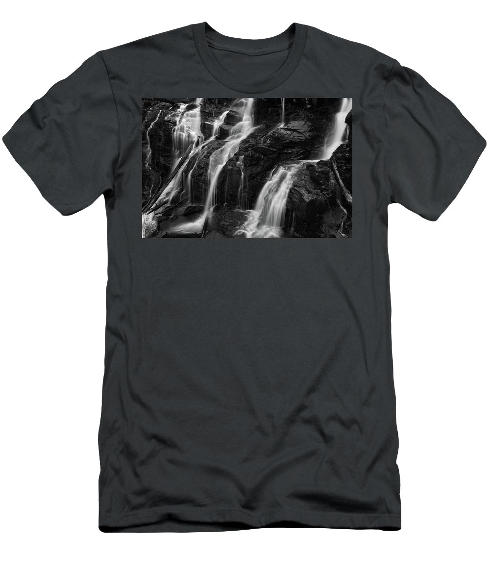 Waterfall Men's T-Shirt (Athletic Fit) featuring the photograph Catawba Falls #2 by Dan Farmer
