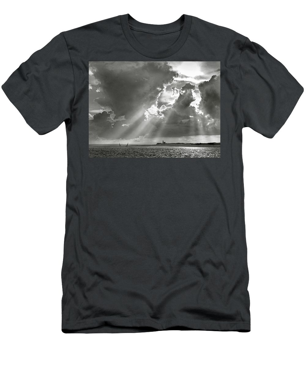 Catboats Men's T-Shirt (Athletic Fit) featuring the photograph Catboats Sailing In Barnstable Harbor by Charles Harden