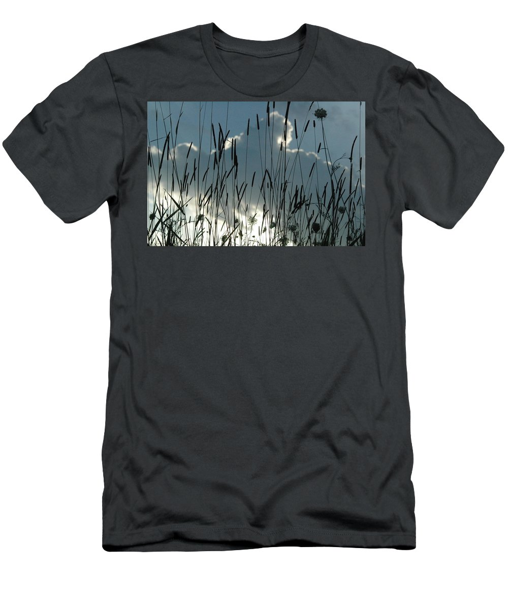 Sky Men's T-Shirt (Athletic Fit) featuring the photograph Cattail Sky by Trish Hale