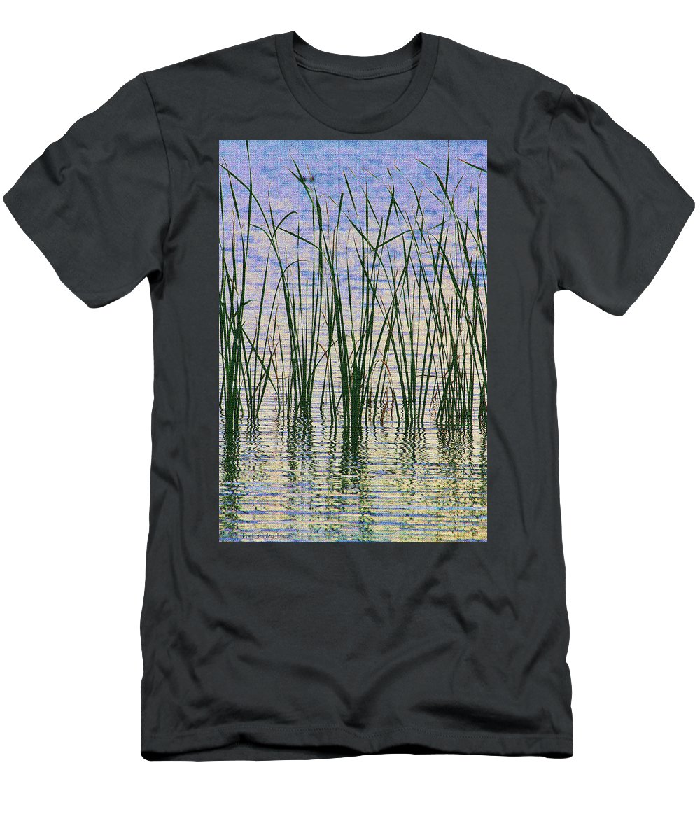 Cattails In The Lake Men's T-Shirt (Athletic Fit) featuring the digital art Cattails In The Lake by Tom Janca