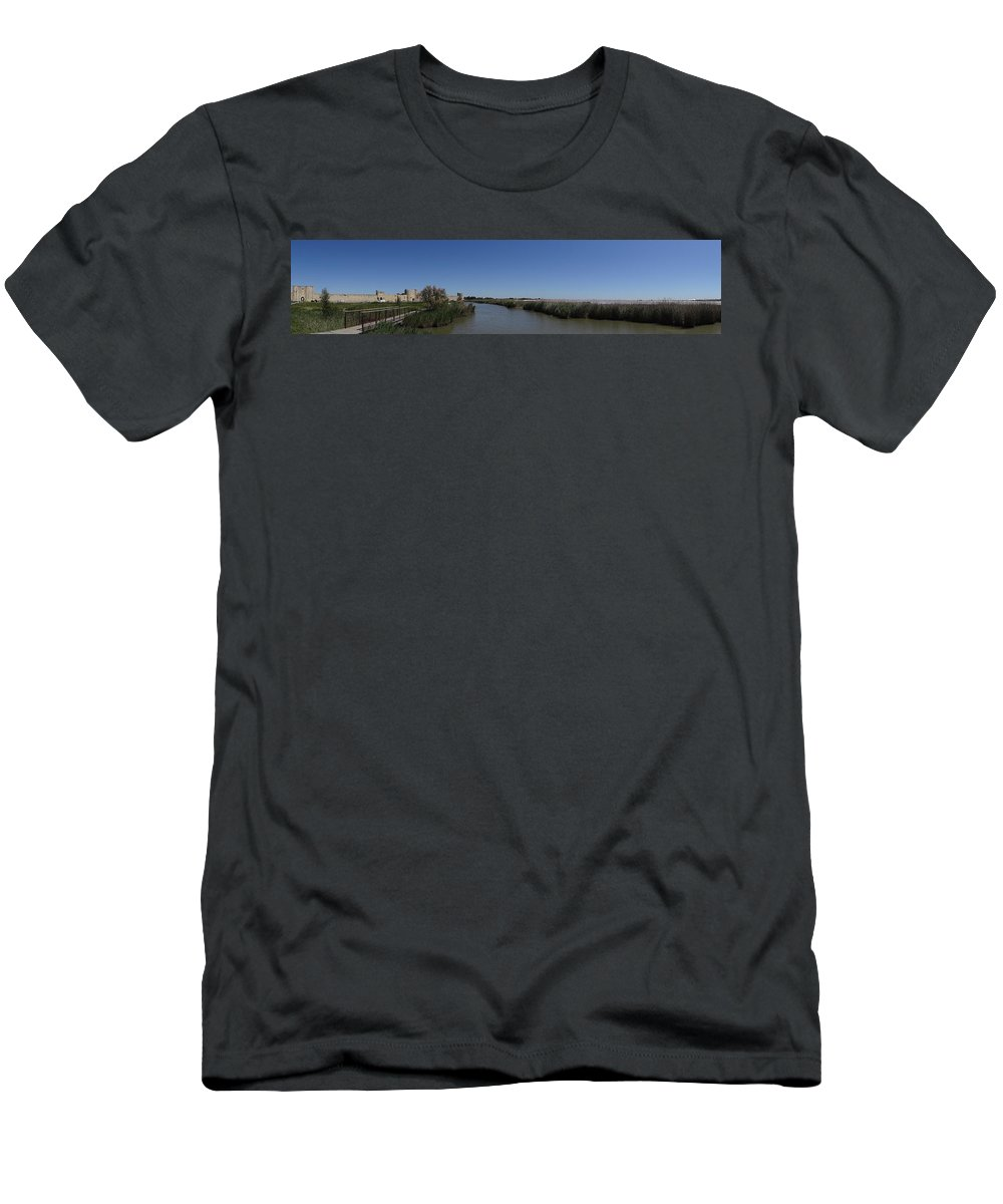 Medieval Cattle Men's T-Shirt (Athletic Fit) featuring the photograph Cattle Of Saint Louis In Aigues Morte by Andres Chauffour