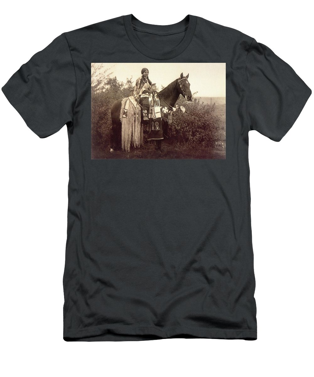 Cayuse Men's T-Shirt (Athletic Fit) featuring the digital art Cayuse by Edward Curtis