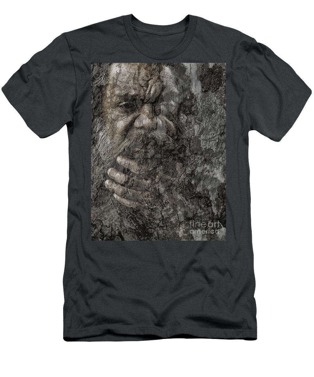 Busker T-Shirt featuring the photograph Cedric with hand on beard by Sheila Smart Fine Art Photography