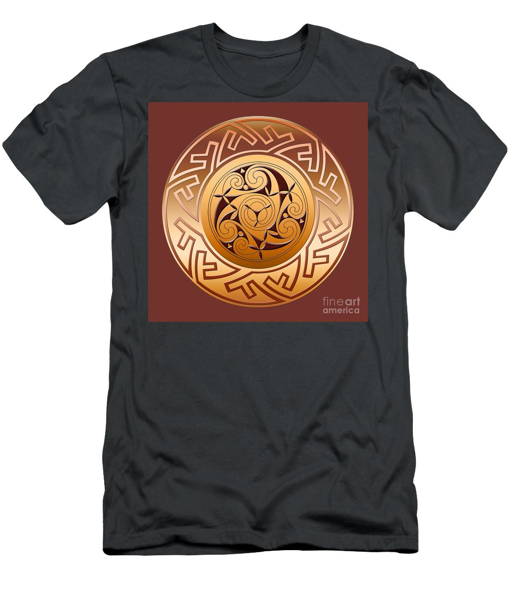 Celtic T-Shirt featuring the digital art Celtic Spiral and Key Pattern by Melissa A Benson