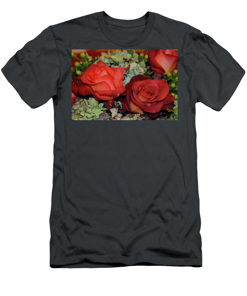 Rose Men's T-Shirt (Athletic Fit) featuring the photograph Centerpiece Roses by Richard Bryce and Family