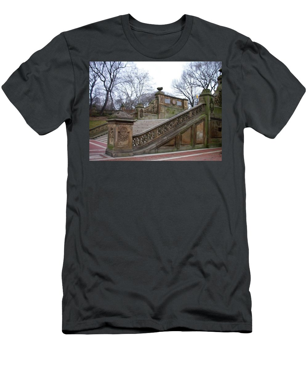 Central Park Men's T-Shirt (Athletic Fit) featuring the photograph Central Park Bethesda 1 by Anita Burgermeister