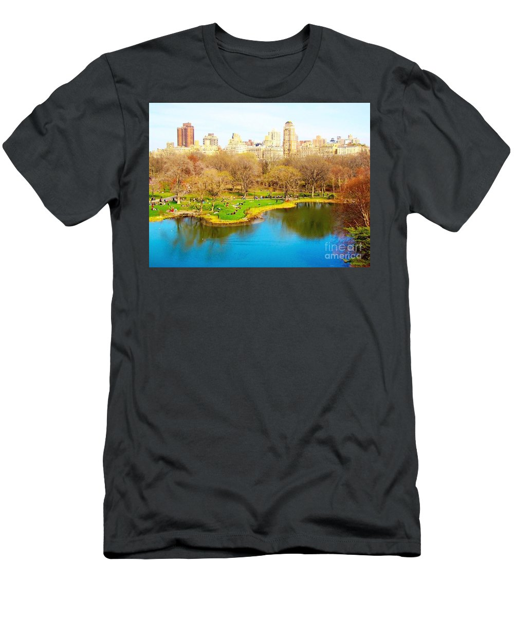 Central Park Men's T-Shirt (Athletic Fit) featuring the photograph Central Park by Maddison May