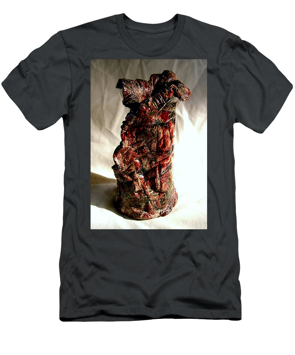Ceramic Men's T-Shirt (Athletic Fit) featuring the ceramic art Ceramic Red Vase by Madalena Lobao-Tello