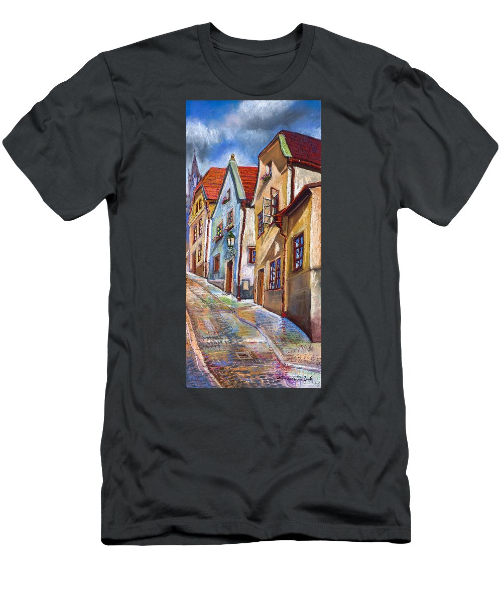 Pastel Chesky Krumlov Old Street Architectur Men's T-Shirt (Athletic Fit) featuring the painting Cesky Krumlov Old Street 2 by Yuriy Shevchuk