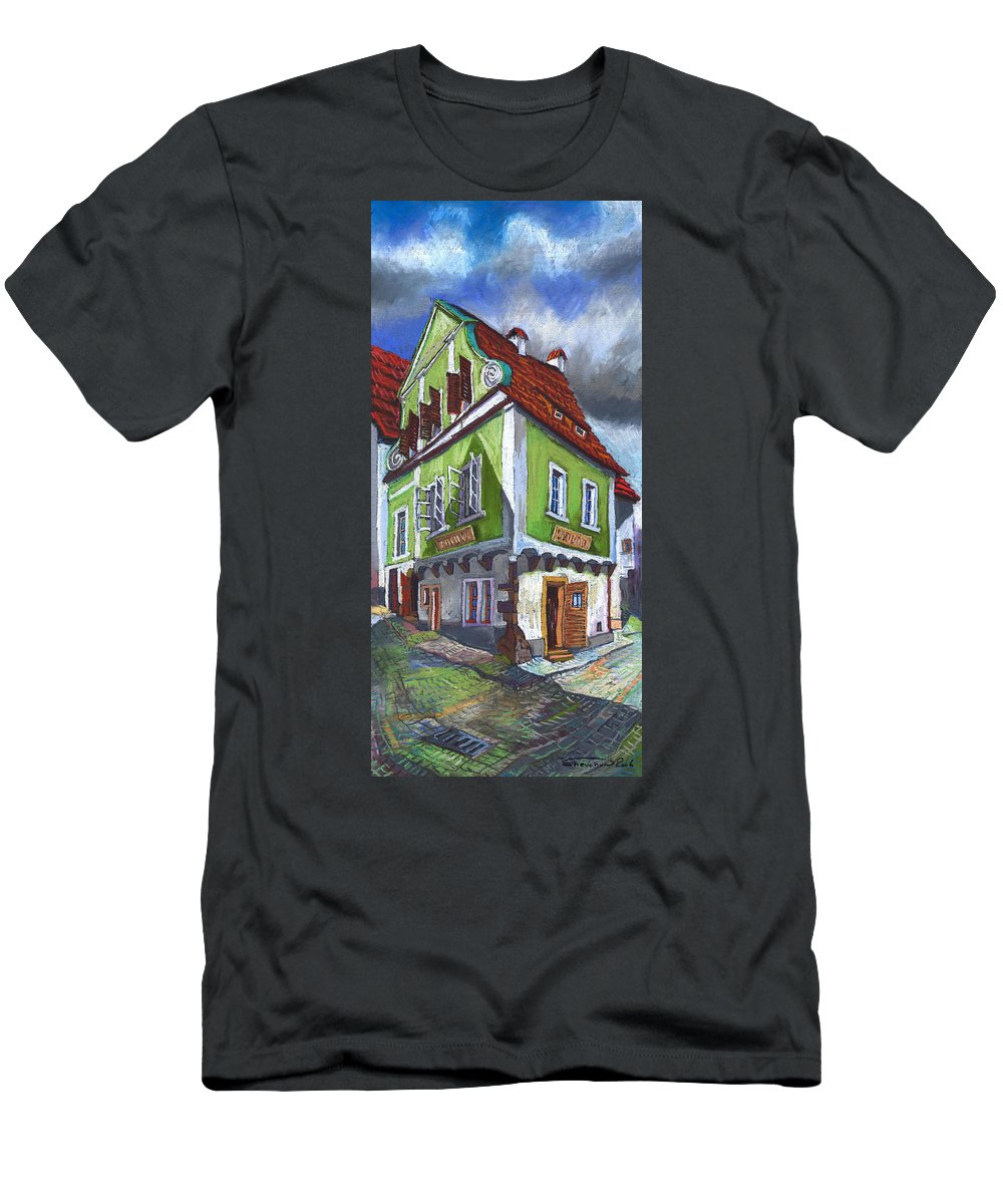 Pastel Chesky Krumlov Old Street Cityscape Realism Architectur Men's T-Shirt (Athletic Fit) featuring the painting Cesky Krumlov Old Street 3 by Yuriy Shevchuk