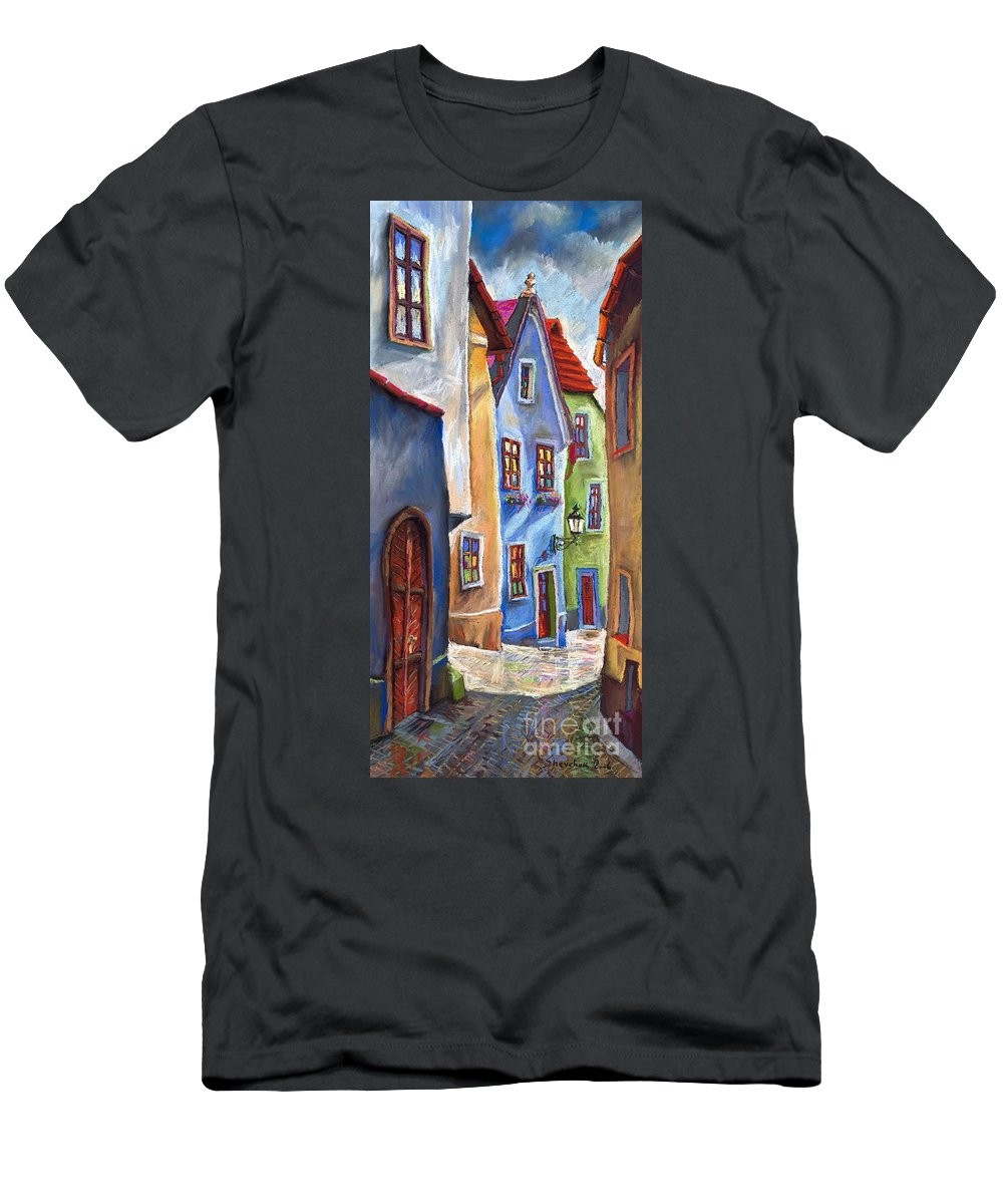 Cityscape Men's T-Shirt (Athletic Fit) featuring the painting Cesky Krumlov Old Street by Yuriy Shevchuk