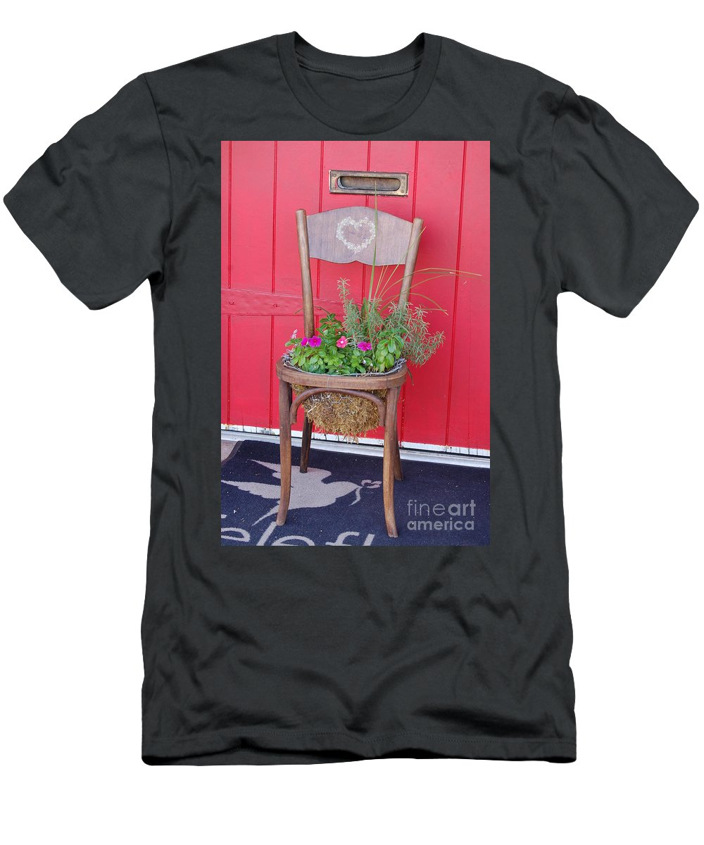 Chair With Plant Men's T-Shirt (Athletic Fit) featuring the photograph Chair Planter by Frank Stallone