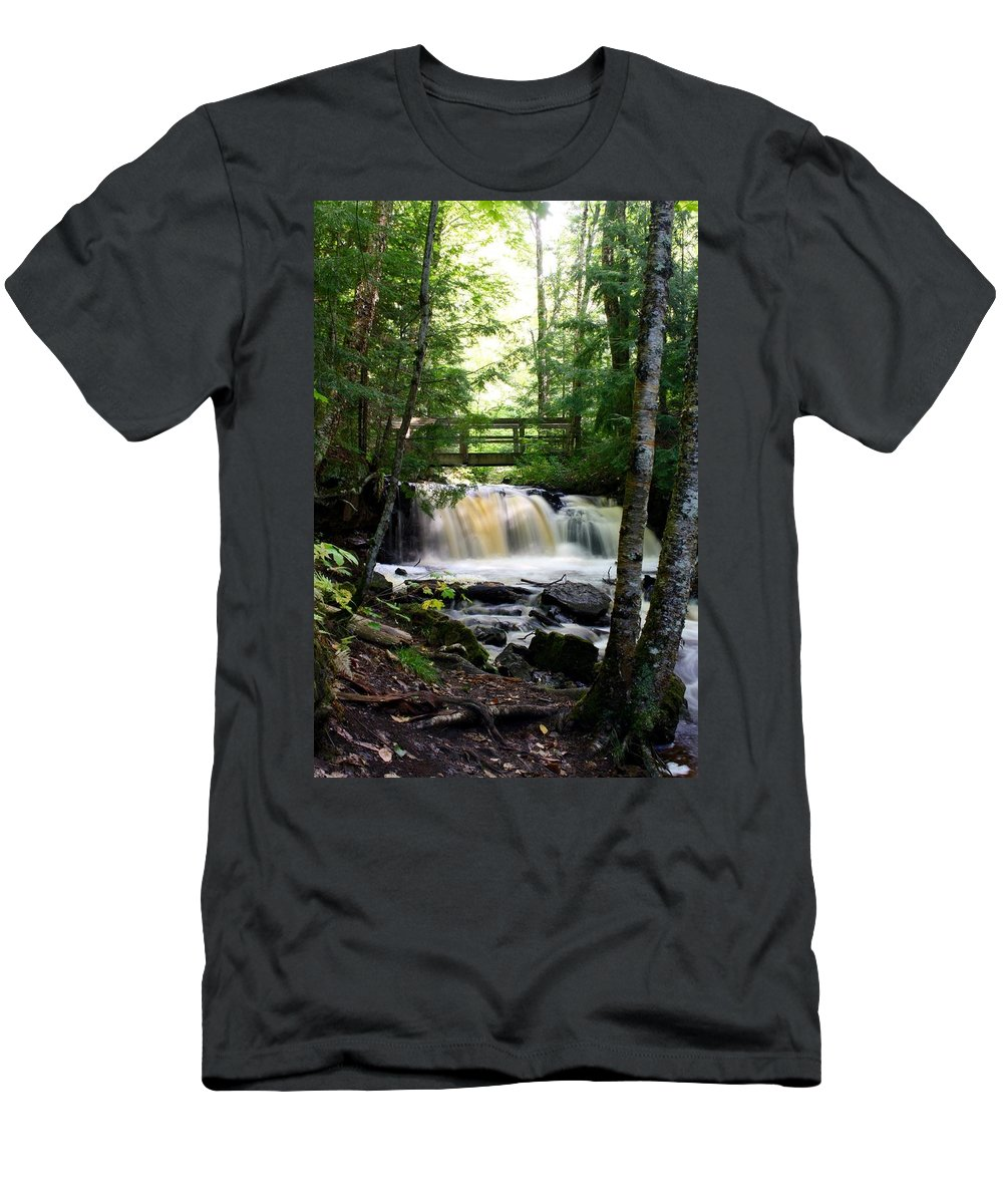 Waterfall Men's T-Shirt (Athletic Fit) featuring the photograph Chapel Falls by Devon Kotke